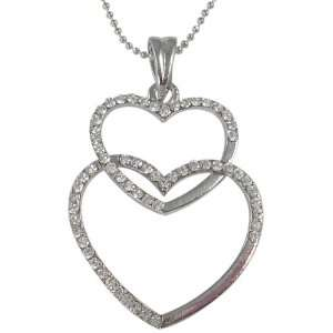 Silver Plated Crystal Stacked Double Heart Pendant Necklace Jewelry
