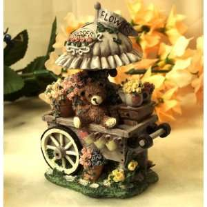 Collectible Figurines ~ Flower Cart with Bear Figurine By