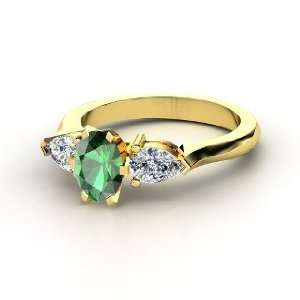 Pear Ring, Oval Emerald 14K Yellow Gold Ring with Diamond Jewelry