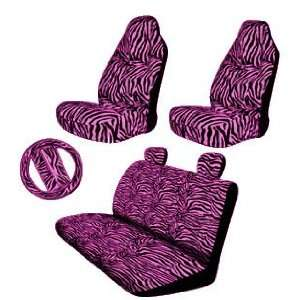 New Style Pink Zebra 9pc High Back Front Seat Covers, Bench Seat Cover