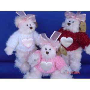 Plush Pink Teddy Bear with Heart Sweater, 8 Tall, Jointed Stuffed