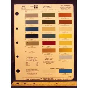 1969 PLYMOUTH Valiant, Barracuda, Belvedere, & Fury Paint Colors Chip