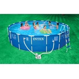 Intex Round Metal Frame Set 18x48 Complete Pool Set  Toys & Games