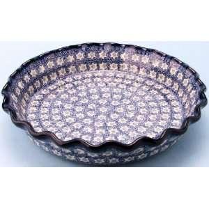 Polish Pottery Ruffled Pie Plate 2 1/4 H x 10 1/4