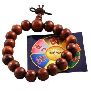 Tibetan Red Wood 18 +1 9mm Prayer Beads Wrist Mala and a Free Buddha