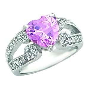 Sterling Silver Cubic Zirconia Heart Promise Ring Sz 7 Jewelry
