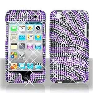 Apple Ipod Touch 4 Full Diamond Bling Purple/Black Zebra Hard Case