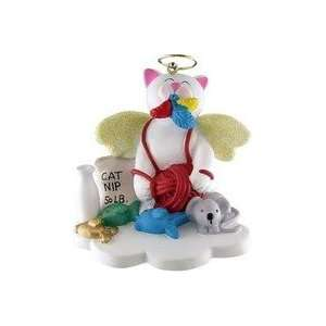 Cat White Angel Christmas Ornament 2 1/2 inches Tall