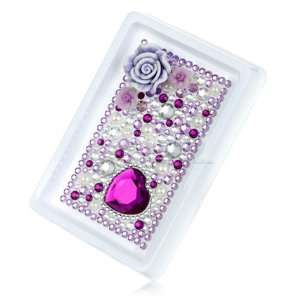 PURPLE FLOWER RHINESTONE CRYSTAL PHONE BLING 3D STICKER Electronics