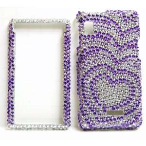 New Purple with Silver Heart Wave Sparkling Rhinestones