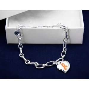 Orange Ribbon Bracelet Silver Linked w/ Puffed Heart Charm