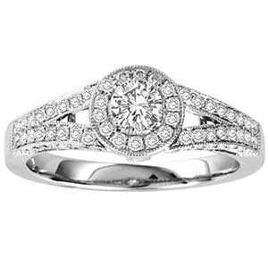 3/4 Carat Diamond 14k White Gold Antique Style Engagement Ring