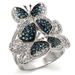 Size 5 Butterfly MultiColor Cubic Zirconia Brass Ring AM Jewelry