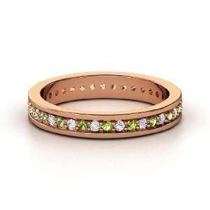 Band, 14K Rose Gold Ring with Diamond & Green Tourmaline Jewelry