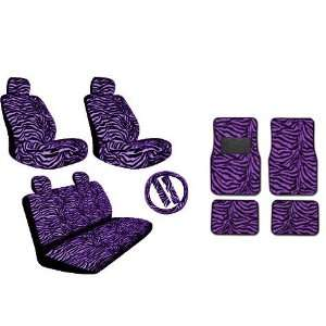 New Style Purple Zebra 15pc Low Back Front Seat Covers, Bench Seat