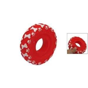 Red Vinyl Plastic Ring Pet Cat Dog Squeaky Chew Toy