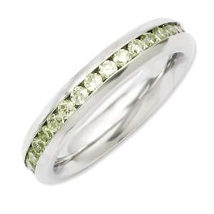 Stainless Steel 4mm August Light Green CZ Ring Size 6 Jewelry
