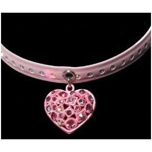 Doggie Designer Pink Swarovski Crystal Heart Necklace