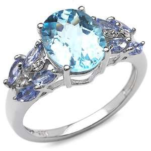 85 Carat Genuine Blue Topaz & Tanzanite Sterling Silver Ring Jewelry