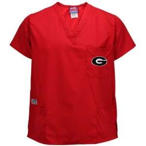 Georgia Bulldogs Red Four Pocket Scrub Top Sports & Outdoors