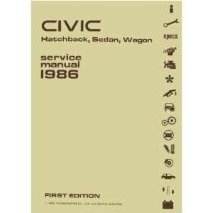 1986 HONDA CIVIC HATCHBACK SEDAN WAGON Service Manual Books
