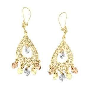 14k Yellow Tri Color Gold Dangle Chandelier Earrings 2 Jewelry