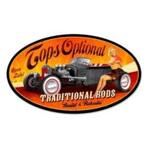 Tops Optional Vintage Hot Rod Pin Up Garage Metal Sign: Home & Kitchen