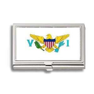 US Virgin Islands USVI Flag Business Card Holder Metal