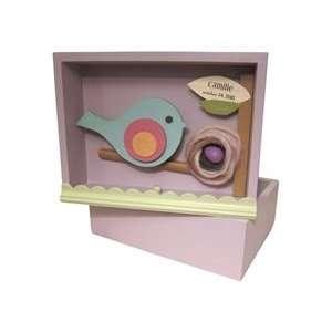 Personalized Purple Bird Wooden Shadowbox Art / Keepsake