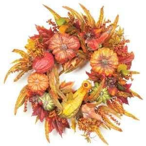 Orange, Yellow & Red Pumpkin, Gourd & Leaf Wreaths 28