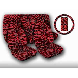 ZEBRA RED PRINT AUTO SEAT COVERS BELTPADS S/W/C COMBO These are made