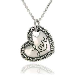 Sterling Silver Marcasite Love Heart Pendant, 18 Jewelry
