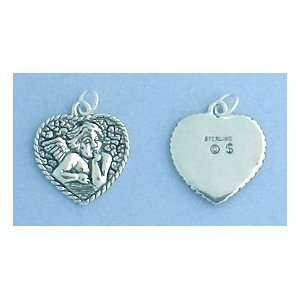 Charm, Raphael Cherub/Angel in Heart, 3/4 inch, 2.2 grams Jewelry