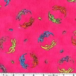 45 Wide Laurel Burch Secret Jungle Playful Lizard Fuchsia Fabric By