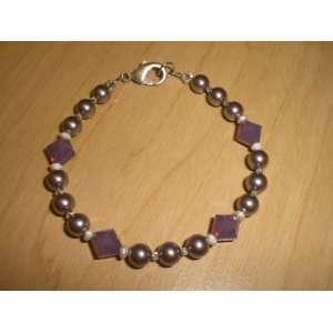 Cyclamen Opal Crystal Mauve Pearl Swarovski Bracelet
