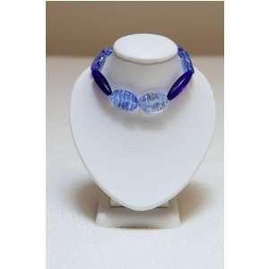 Dark Blue Glass Beads with Light Blue Czech Beads