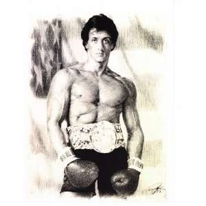 Sylvester Stallone from Rocky Sketch Portrait, Charcoal