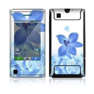 Motorola Devour Skin Decal Sticker   Blue Neon Flower
