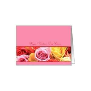 fiancee Happy Valentines Day pink rose border card Card