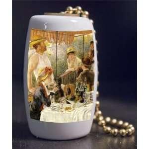 Fine Art Renoir Boating Party Porcelain Fan / Light Pull