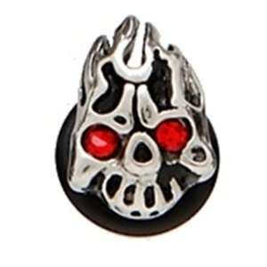 Flame Skull Bullet Ear Plugs 316l Surgical Steel   Sold in Pairs