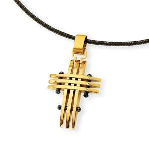 Stainless Steel and Gold Cross Necklace Jewelry