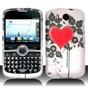 Huawei M650 M 650 White with Red Love Heart Black Flower Leaves Design