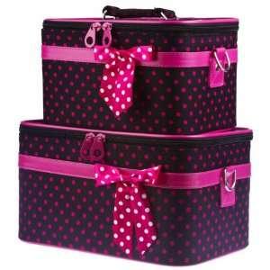 Black Pink Polka Dot Train Case Set Cosmetic Makeup   Small