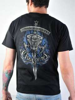 Orange County Choppers Black Engine Sword Blue Wallpaper T Shirt