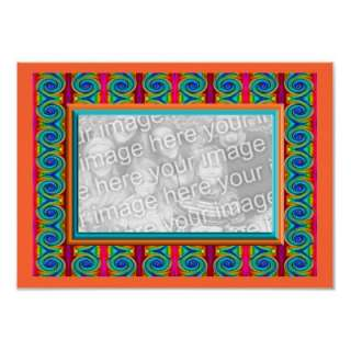 frame poster print. Bright curls turquoise orange red abstract design