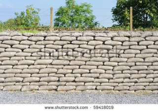 stock photo  Trench from World War I, relic, fossilized sandbags