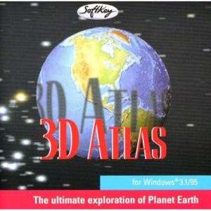 SOFTKEY   3D ATLAS   World Maps PC CD ROM NEW