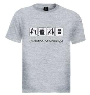 Evolution Of marriage T shirt funny humor cool wedding gift tee s xxl