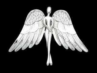 Silver Tone Guardian Angel Spread Wings Crystal Brooch Pin NB10